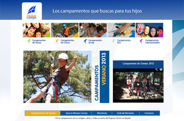 Portal web para los campamentos de verano en España