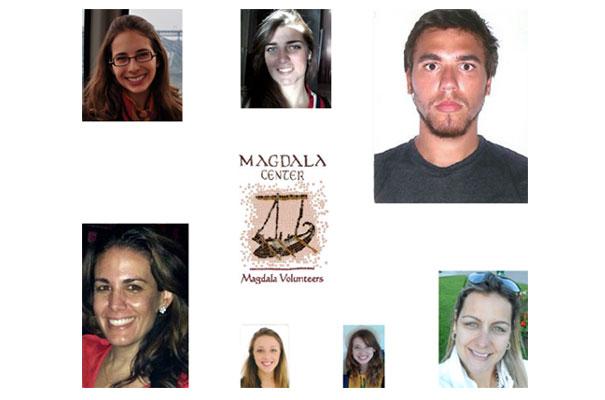 Em sentido horário, a partir do canto superior esquerdo: Elisa Bastos, Glaucia Azevedo, Remo Brancallião Netto, Paula Lima, Mariana Becker, Michaela de Araújo e Mariana Negrao.