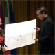 Cardinal Elio Sgreccia receives the honorary degree from Fr Alvaro Corcuera, LC.