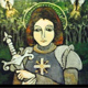 Joan of Arc, Ann's favorite saint, was her first retablo project.