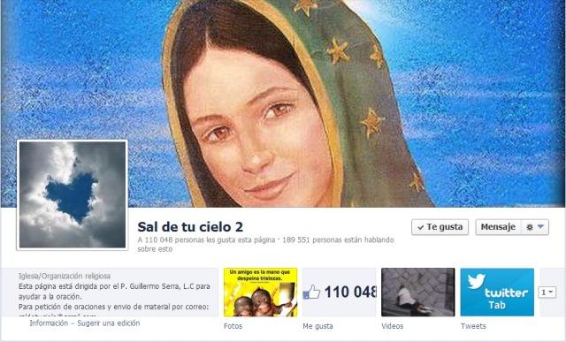 """Página de Facebook de """"Sal de tu Cielo 2""""."""