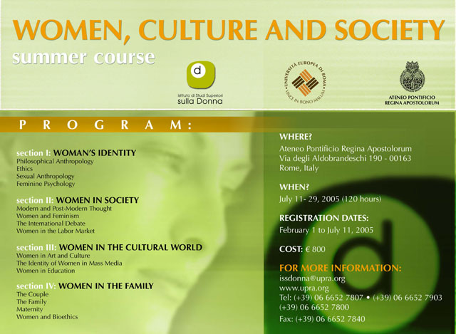 Summer Course Women, Culture and Society