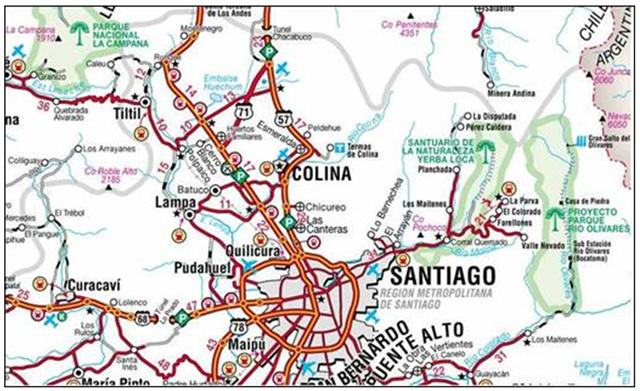 Mapa donde se localizan los terrenos del cuarto colegio Mano Amiga, de Chile