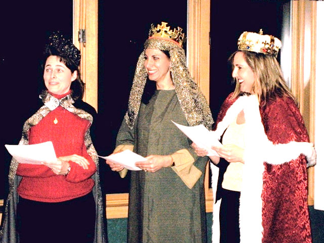 Dressed as the three kings, these ladies performed in an Epiphany skit.