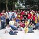 Niños de la fundación Ezequiel Moreno junto con los organizadores del evento y los jugadores del Atlético Bucaramanga.