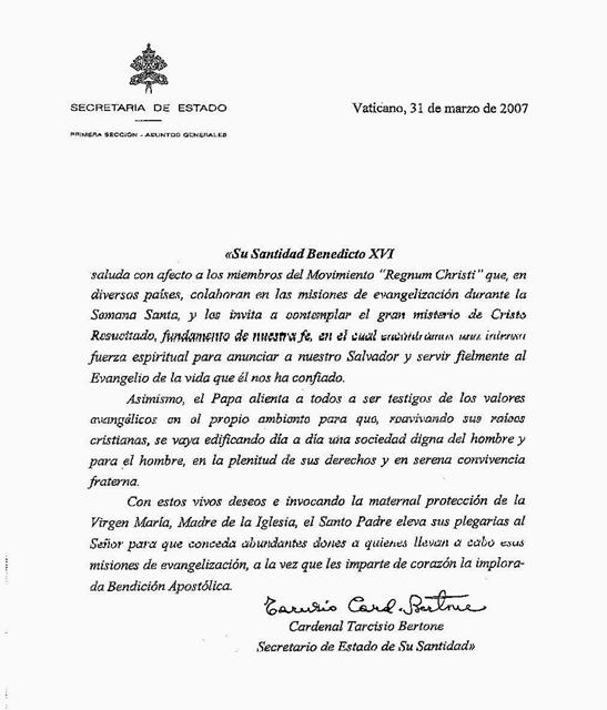 Bendición papal a misioneros 2007