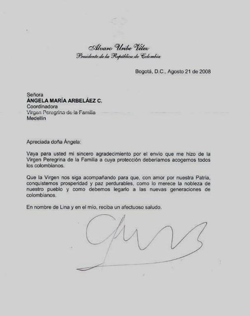 Carta del Presidente de Colombia