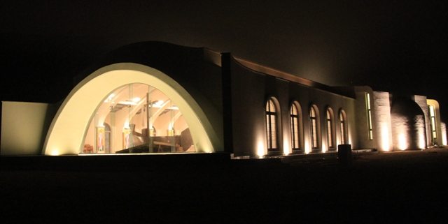 Magdala Center Church at night