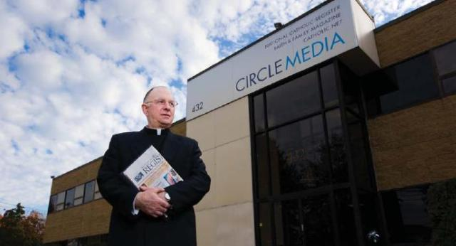 Fr Owen outside Circle Media