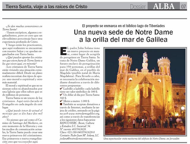 Dossier de la revista católica ALBA