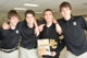 From left to right � Everest Collegiate Boys� High School students Nick Greene, Chris Bradley, Gabe Fenske and Ryan Bradley proudly hold up pro-life conference brochure.
