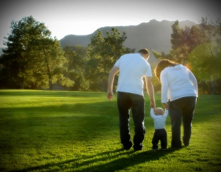family in sunset light