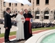 The Holy Father stands next to Cardinal Lajolo during his address at the new fountain.
