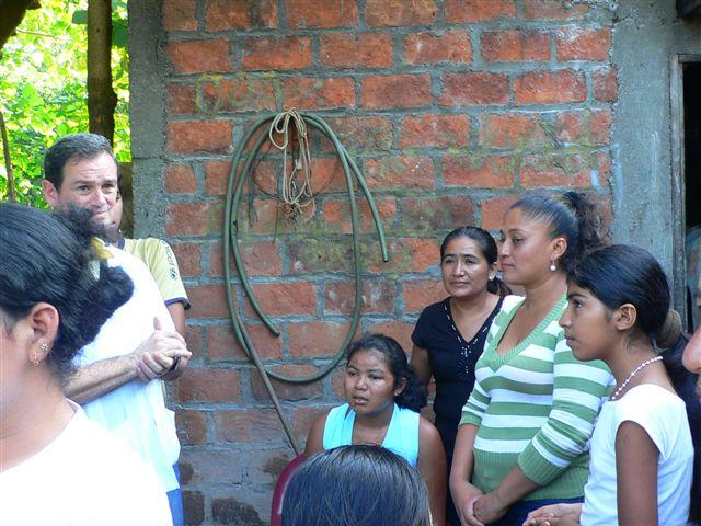Fr Edward Hopkins with the El Salvadorian people.