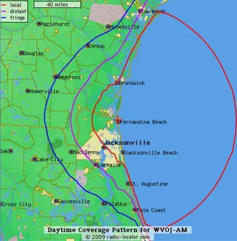reach of Guadalupe Radio in Florida