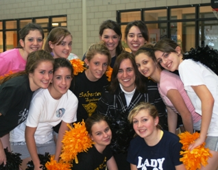 Jana Crea (center) with the Everest cheerleading squad.