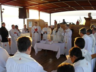 priests on Galilee boat
