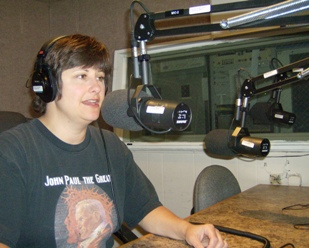 Kelly Luttinen in the WCAR 1090 AM studio.