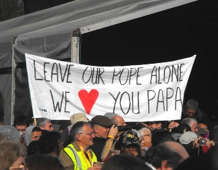 leave our pope alone banner uk