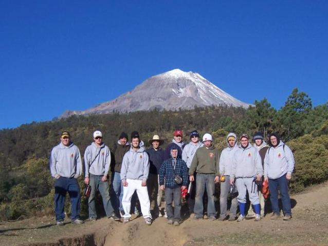 The young men with the Pico de Orizaba (Orizaba Peak) behind them.