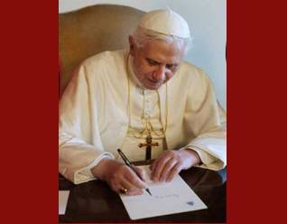 pope writing at desk