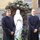 Fr. McLean Cummings with two seminarians in front of the grotto of the St. Petersburg seminary