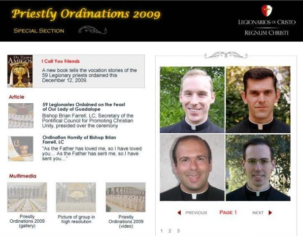 ordinations section on web page
