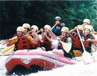 Rafting during Camp Caribou