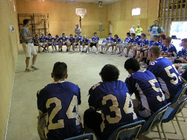 The football team from Eastern Hancock High during a formation session