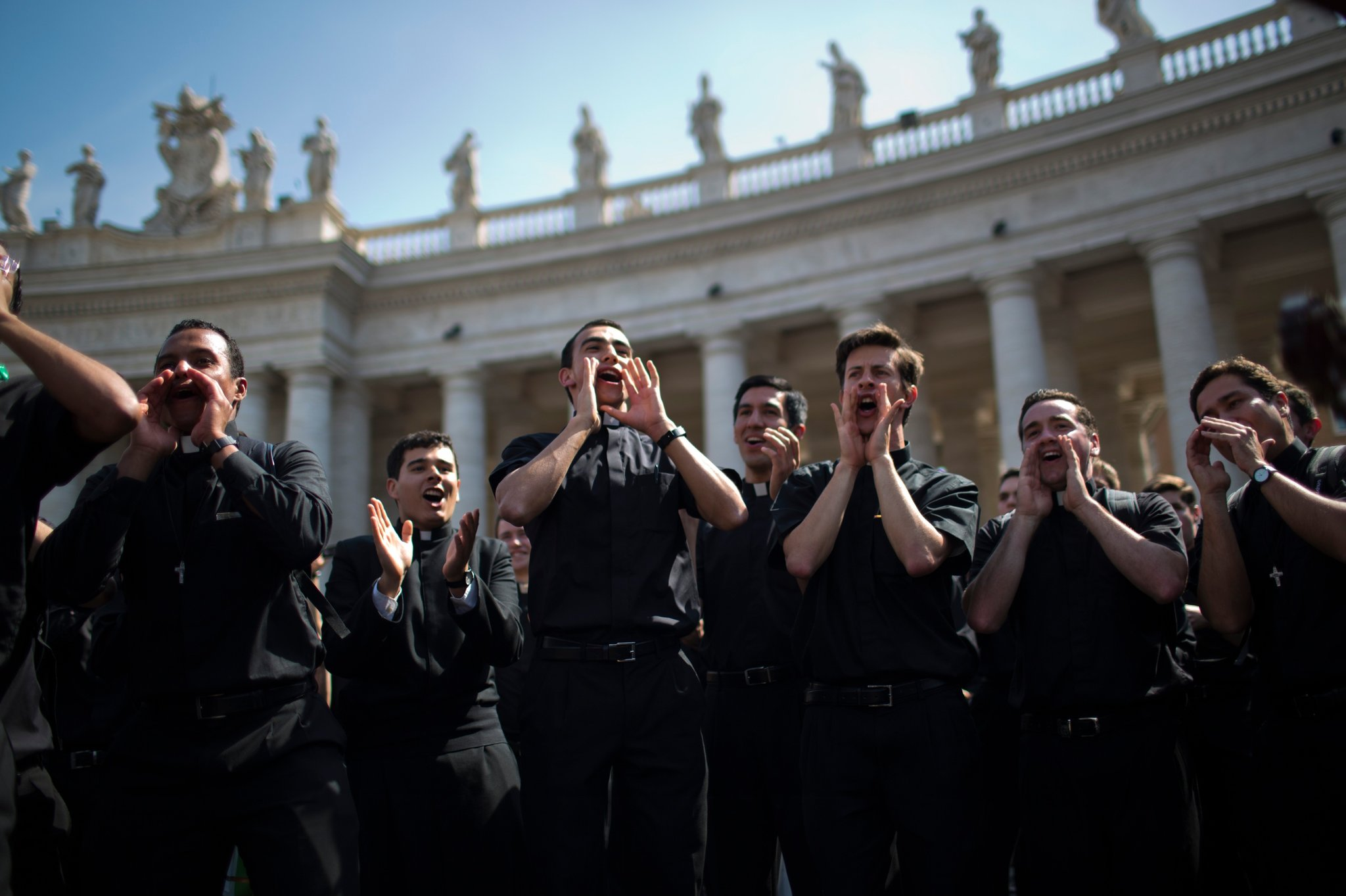 Seminarians at canonization of popes