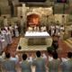 Priests concelebrate the Mass in the grotto of the Annunciation in Nazareth.