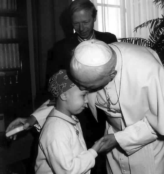 A moment of intimate sharing with Pope John Paul II, shortly before she died.
