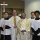 Archbishop Malcolm Ranjith with Father Steven Reilly, LC, Director of Formation at The Highalnds School, and sophomore altar servers, Ross Conklin, Michael Maggio, and Sean Evans.