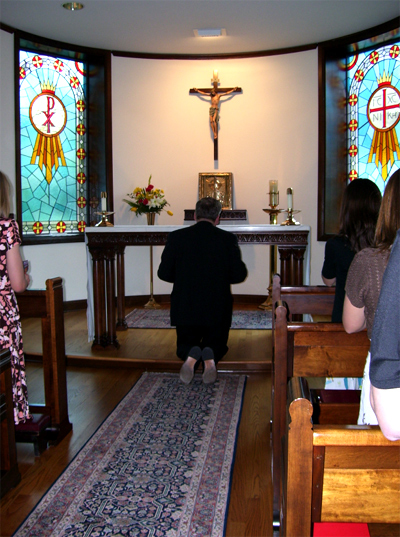 Archbishop Burke invited the girls into his chapel and prayed with them.