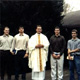 Father Scott Reilly, LC, with four new members of Regnum Christi.