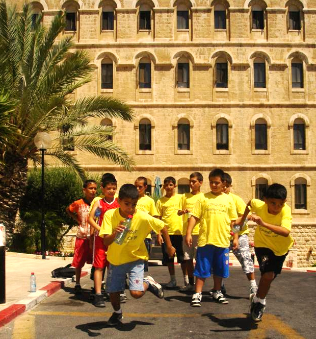 One of the many team competitions at the first Conquest summer camp in the Holy Land.