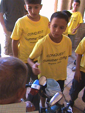 A moment during the boys� apostolic outreach.