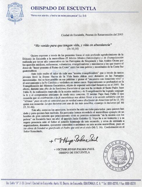 Carta de Mons. Víctor Hugo Palma, obispo de Escuintla