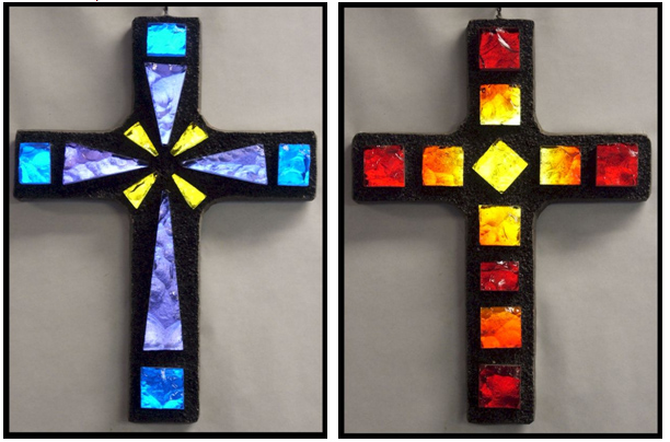 Glass crosses made in the Thompson workshop, available on www.artisticcrosses.com.