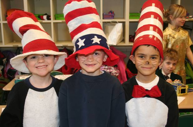 Lower school students enjoying a Dr Seuss moment.