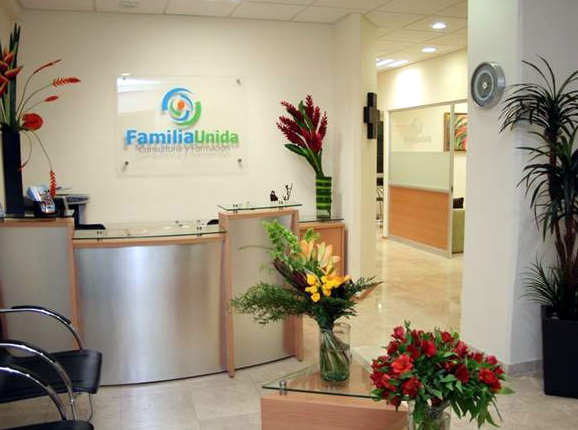 Recepción de las oficinas de �Familia Unida�, un centro de consultoría familiar.