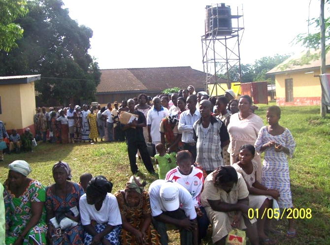 Long lines outside the clinic.