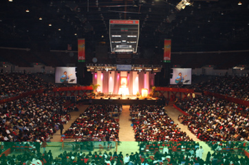 An audience of 10,000 at the Women of Faith Congress in the Los Angeles Sports Arena.