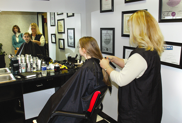 At the �Locks of Love� salon.