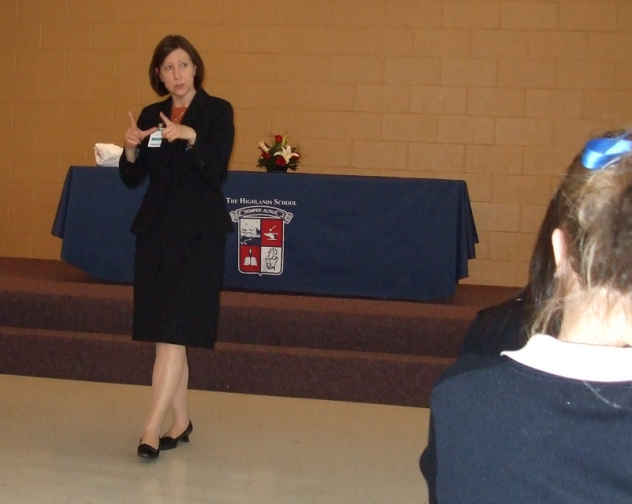Mrs Luxbacher, the first guest speaker for the Highlands School Leadership Forum.
