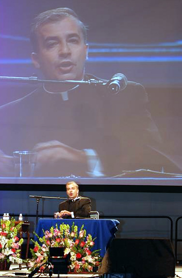 "Fr Ángel Espinosa spoke on ""Defending Love."""