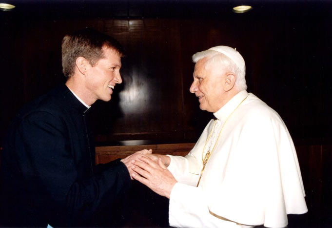 Benjamin Cieply, LC, greeting a model of the Catholic priesthood: Pope Benedict XVI