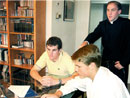"Dylan Fisher, left, fellow ""co-worker"" Greg Miller and Brother Andrew Dalton, work together running young men's sections of the Legionaries of Christ in high schools and colleges around Washington D.C., Maryland and northern Virginia."