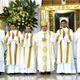 The  new deacons with Bishop Víctor Ochoa Cadavid, auxiliary bishop of the Archdiocese of Medellín, Fr José Manuel Otaolaurruchi, LC, territorial director for Venezuela and Colombia, and Fr José de Jesús Rodríguez de la Torre, instructor of novices.