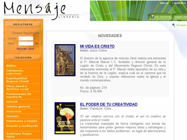 Página en internet de la Librería Mensaje, de Colombia.